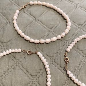 handmade set of 3 pearl necklaces